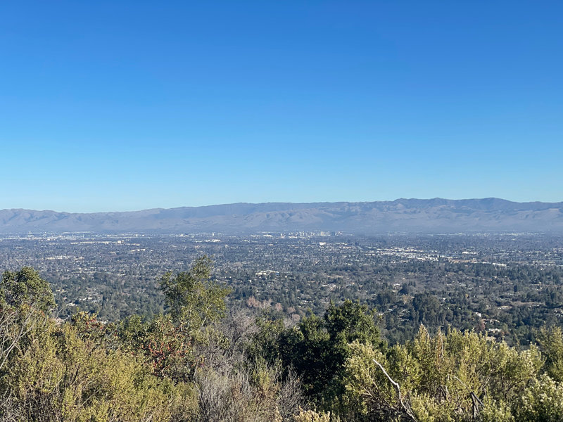 Views of the South Bay, including San Jose, appear from a viewpoint on the left hand side of the trail.