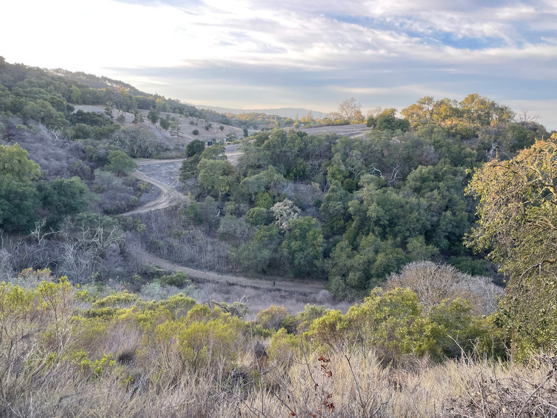 You can see the Vista Trail snaking its way up the hill from the Valley View Trail.