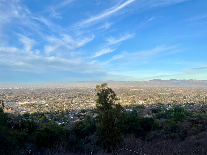 Views like this await you on the Valley View Trail.  You can see Los Gatos in the foreground and San Jose off in the distance.