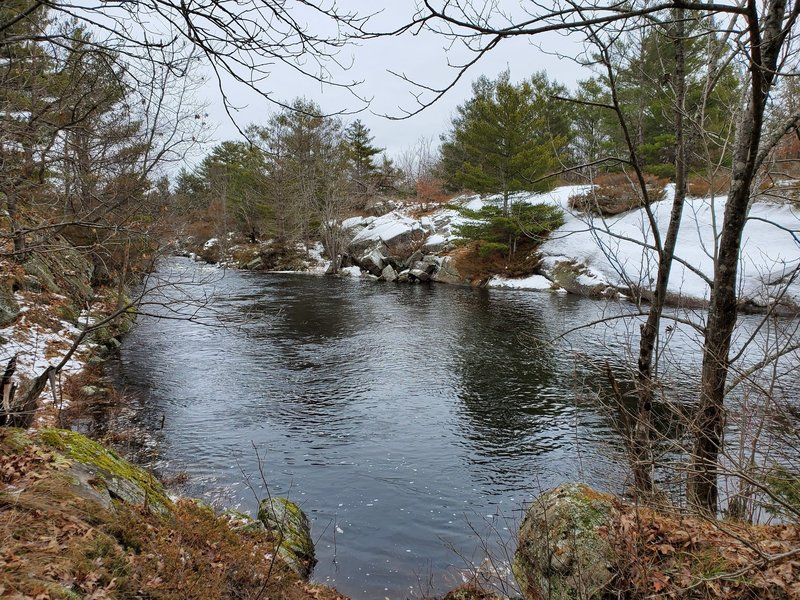 Upriver of the rapids in winter.