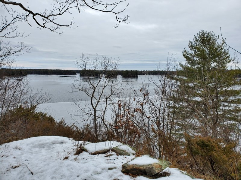 Viewpoint over semi-frozen Second Depot Lake.