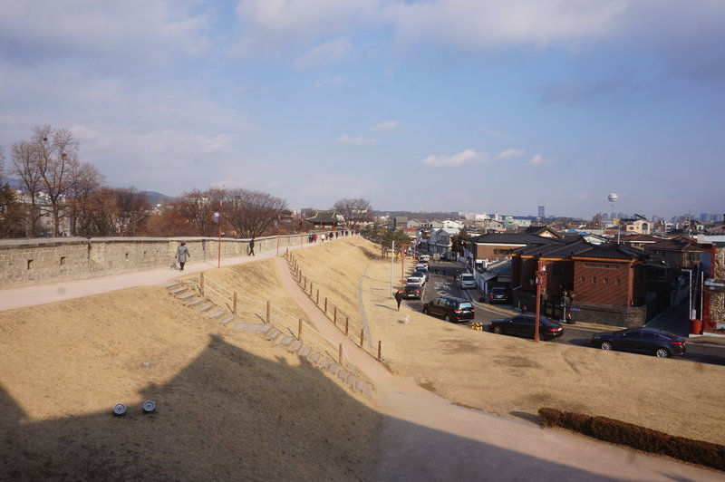 Hwaseong Fortress Loop looking east from Hwaseomum Gate.
