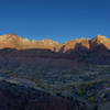 Sunrise from the Watchman Overlook. The sun lights up the peaks on the opposite side of the valley. Definitely worth getting up there in the morning for this great view.