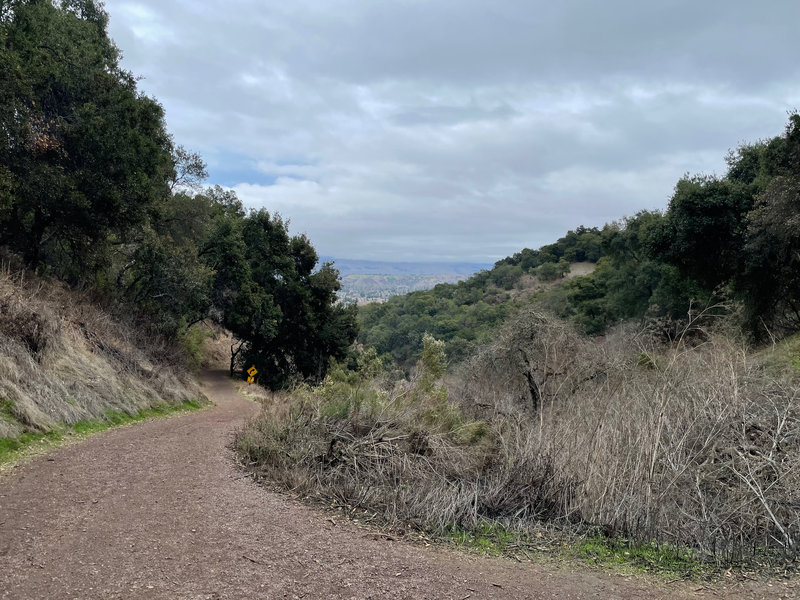 The Santa Clara trail from the fork in the trail. From here, you start to get glimpses of Silicon Valley below you.
