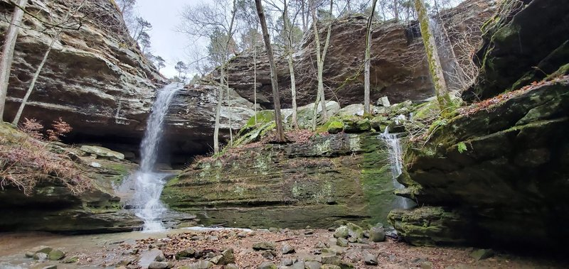 Double waterfalls at the end of the Big Rocky Hollow Trail.