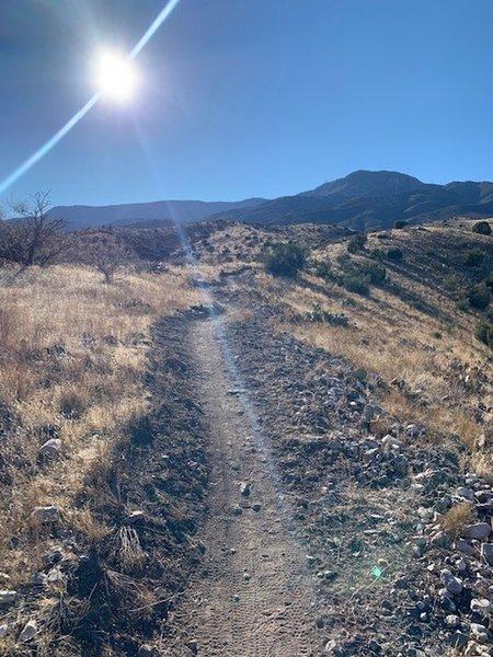 Trail heading along one ridge.