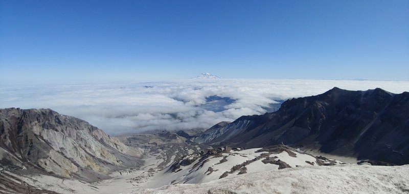 Crater of Mt. St. Helen's with Rainier in the distance