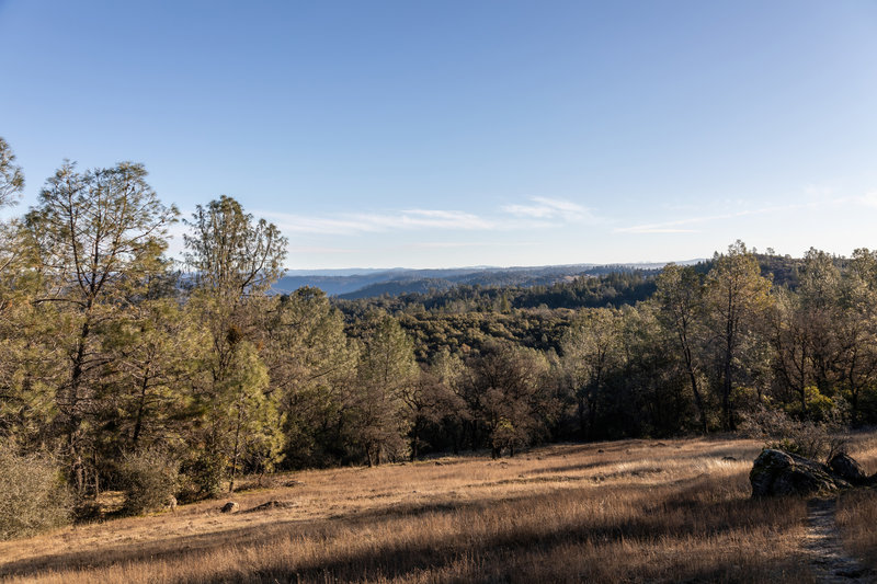 View across the Auburn State Recreation Area from this ascent on Pointed Rocks Trail.