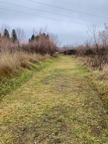 Mostly gravel but some grass areas, restrooms located in a few areas of the trail.