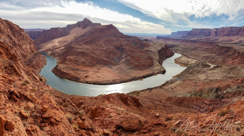 From the top of Spencer Trail overlooking Lee's Ferry with Navajo Bridge and the Vermillion Cliffs in the background.