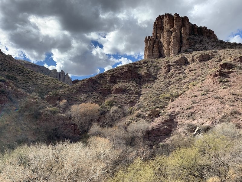 Butte above hot springs.