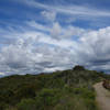 Del Mar Mesa Equestrian trail under a dramatic sky to the east.