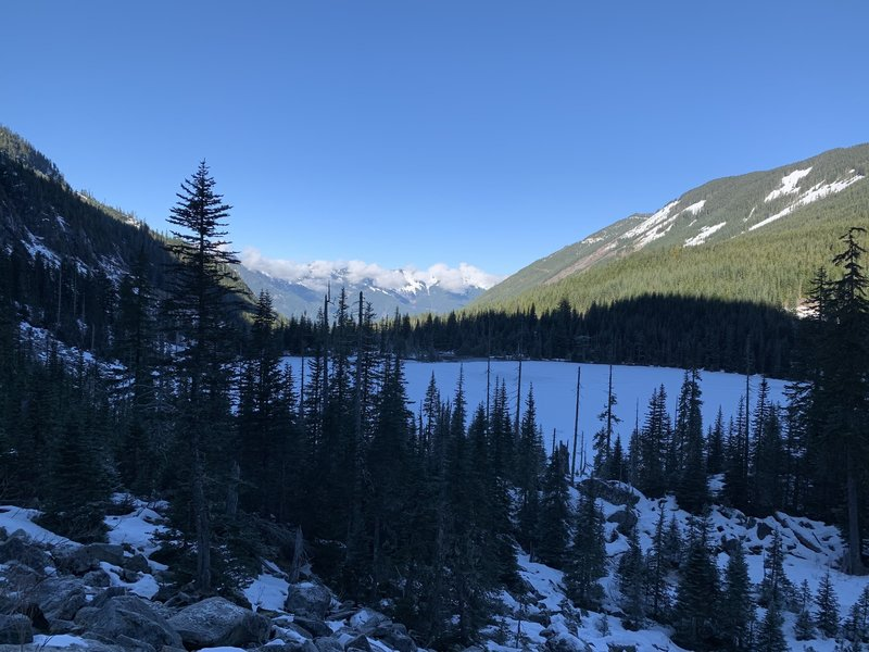 Upper Granite Lake, from the talus field on South side.