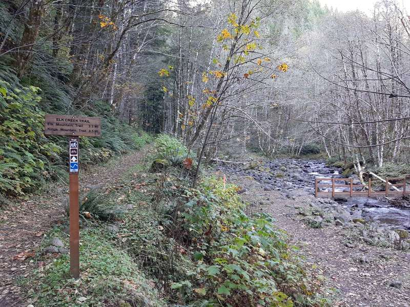 """A wooden sign says """"Elk Creek Trail"""" next to a trail that goes along a stream, which has a bridge across it."""