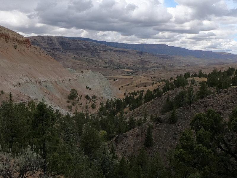 Near top of ravine