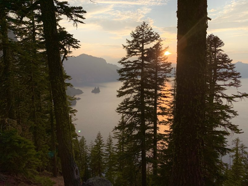 We visited the park in late August during a particularly Smokey summer. The Haze made for some spectacular sunsets. Here is phantom ship as seen from the phantom ship overlook.