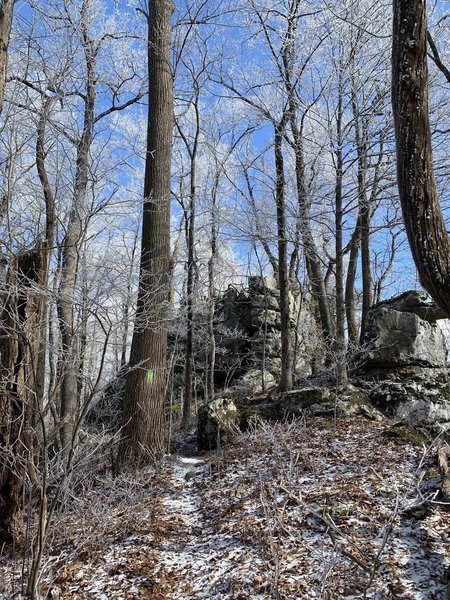 Rock formations on Chimney Trop Trail in the winter.