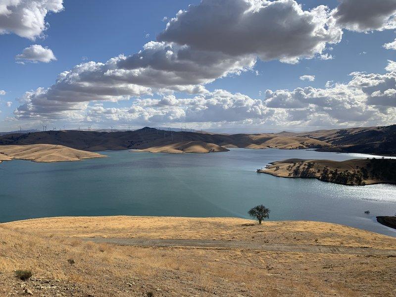 Los Vaqueros Reservoir as seen from the Vista Grande Trail.