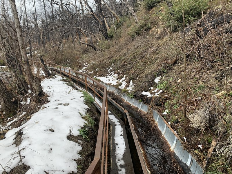 Walkway and ditch.