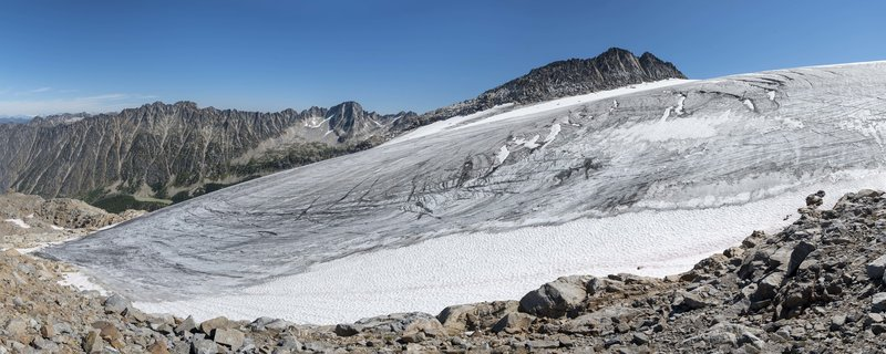 Kokanee Glacier and the Sawtooth Range from the viewpoint far above Slocan Chief cabin.