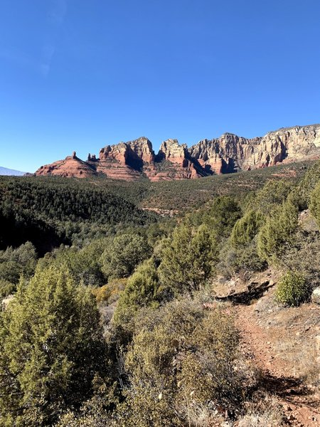 Starting up Casner Canyon, looking back to Sedona.