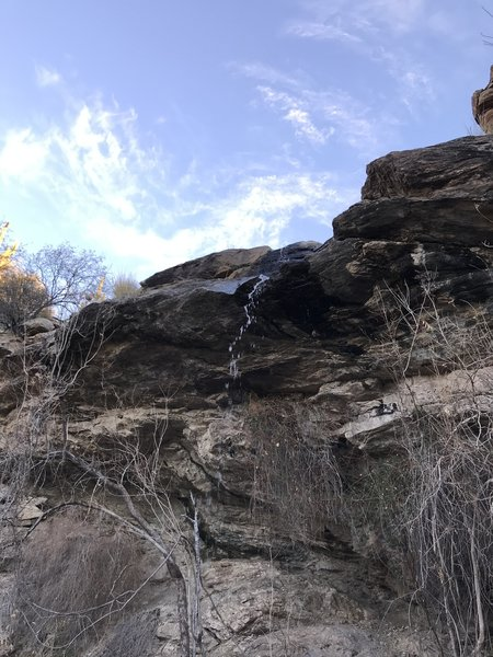 Bridal Wreath Falls: just a strong trickle on this day.