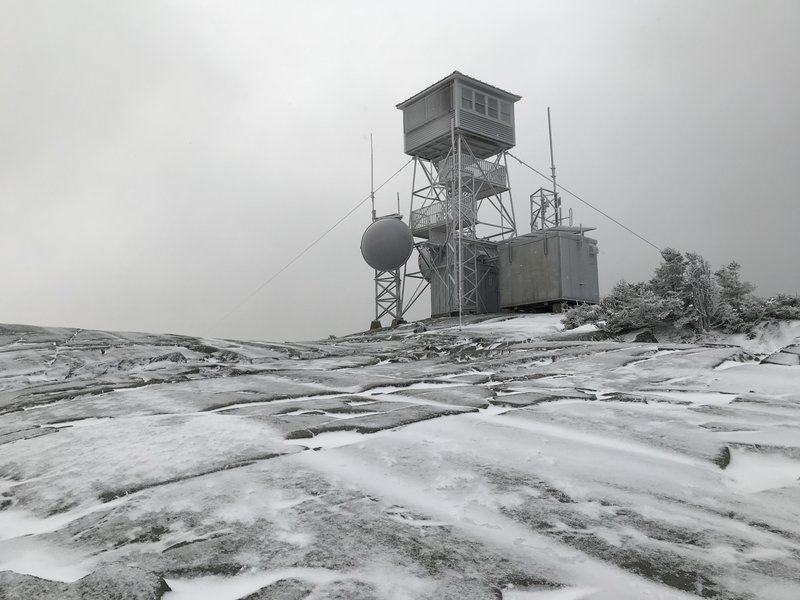 The frosty watch tower atop Kearsarge Mountain.
