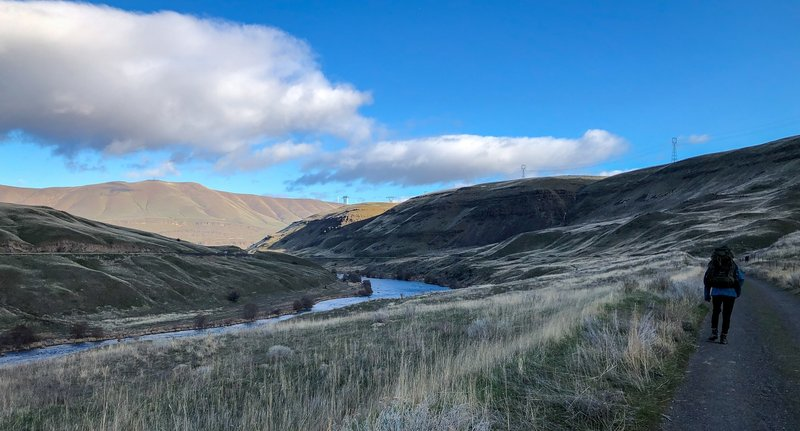 Hiking along the Deschutes River Trail.