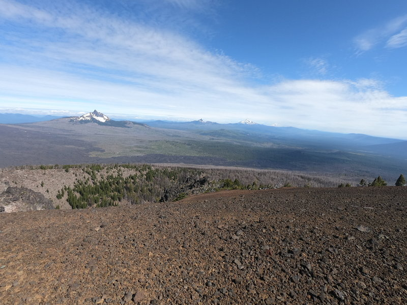 View north from Black Crater summit showing Mt. Washington, 3-Fingered Jack and Mt. Jefferson (L-R)