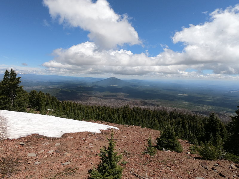 View northeast from Black Crater trail showing Black Butte and Green Ridge (in background).