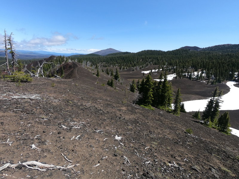 Looking north along 4-in-1- Cone towards Black Crater (Yapoah Crater peeking over ridge on right)