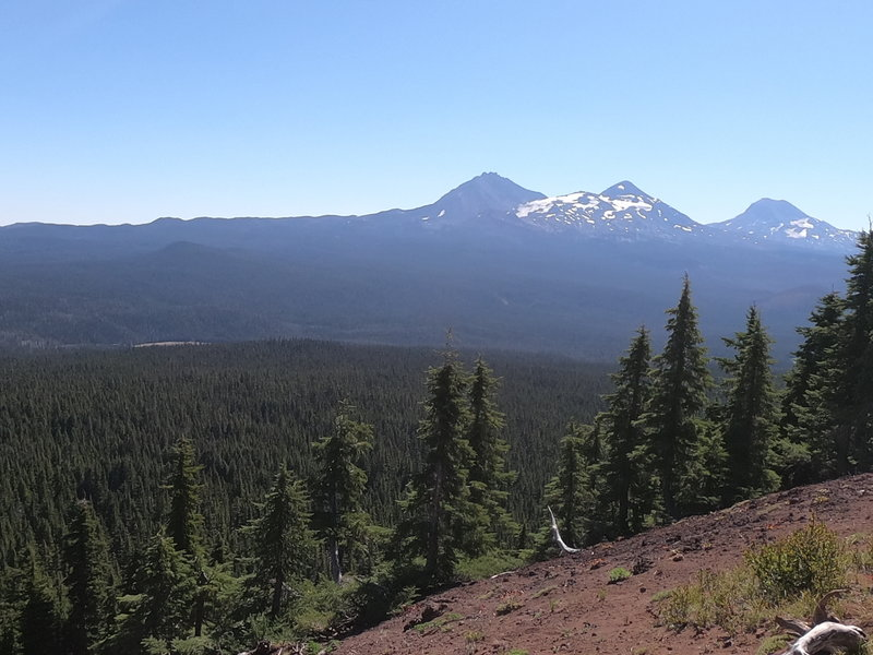 North Sister, Little Brother, Middle Sister and The Husband (L-R) from Scott Mtn.