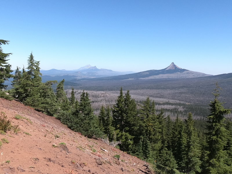 Looking northwest from Scott Mtn. Mt. Washington (closest), 3-Fingered Jack (middle) and Mt. Jefferson (farthest).