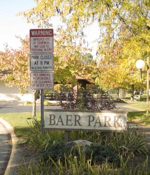 Baer Park entrance sign