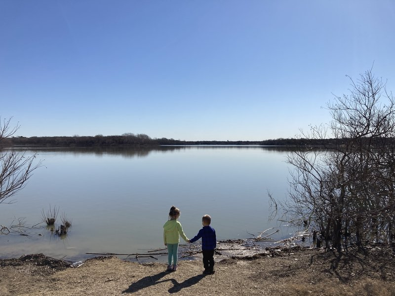 Access and view of Lewisville Lake.