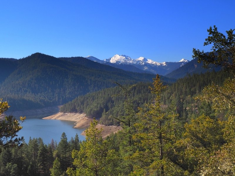 The Red Buttes and Applegate Lake from the lower viewpoint.