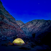 Camping above the Marble Canyon Middle Narrows. Great location but the ground was hard as rock and had a slight slope.