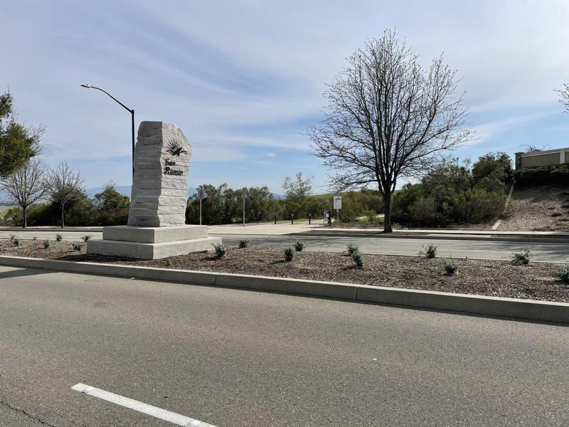 Entrance is non-descript, center of photo across the street.