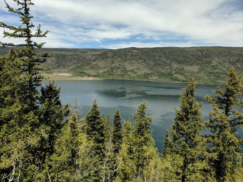 View of the lake from higher up on the trail.