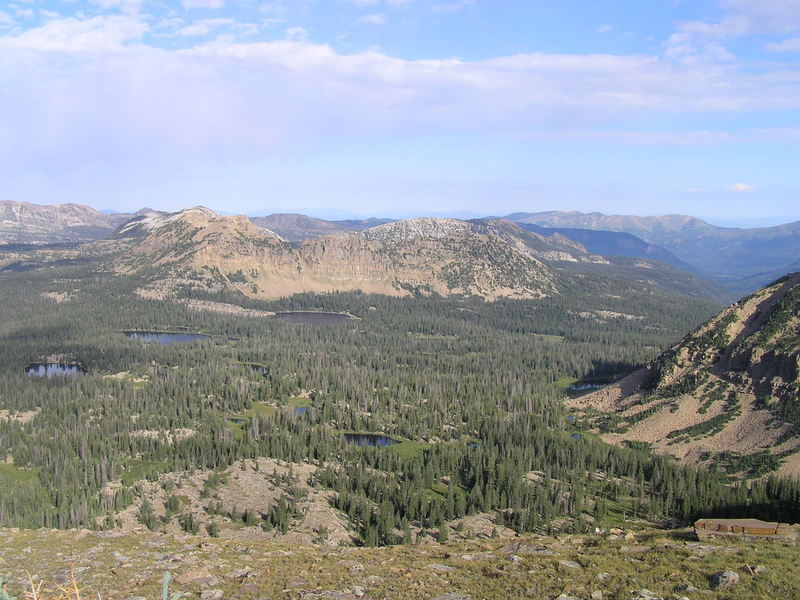 View northwest from trail showing Clegg, Dean and Notch lakes and Notch Mountain (08-19-2005)