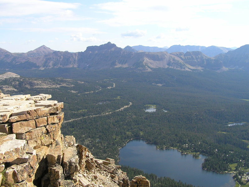 View east from summit showing Mirror Lake and, in the distance, Mt. Agassiz. (08-19-2005)