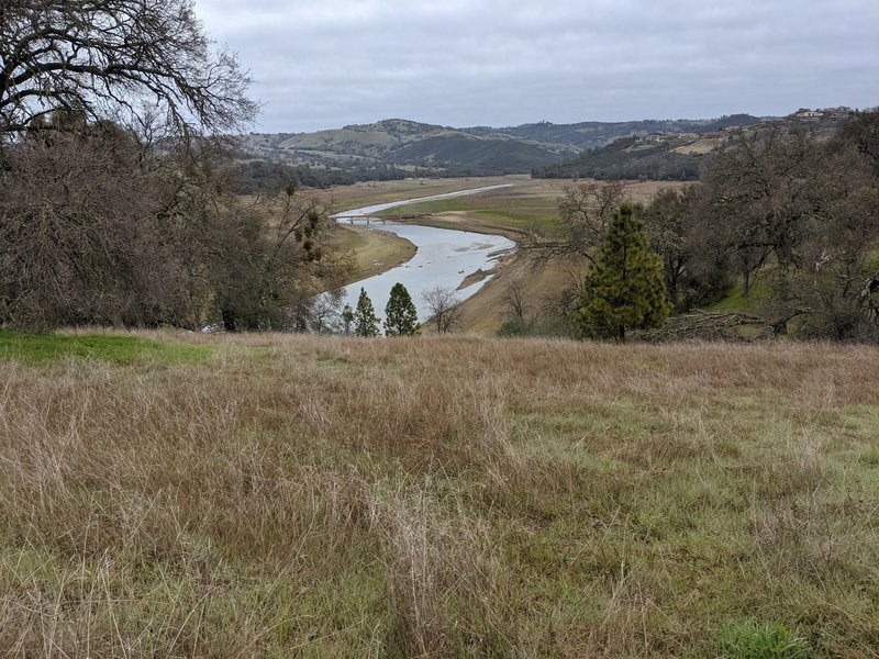 Looking towards Hidden Bridge (normally underwater) and the ghost town of Salmon Falls