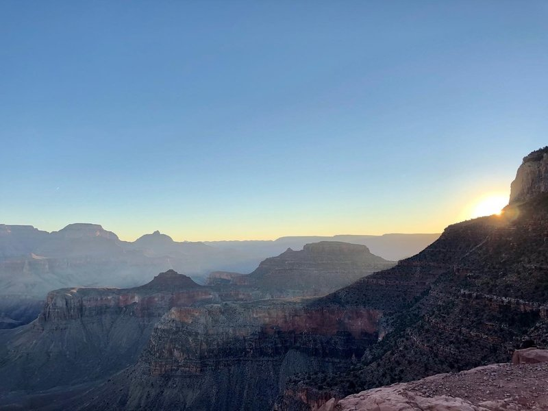 Sunrise on the South Kaibab Trail.