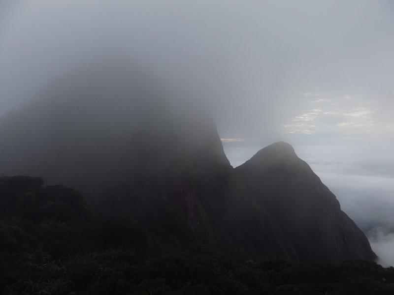 Approaching the cloudy Parana Peak.