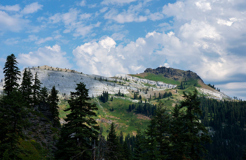 """White and Black Marble Mountain.  (""""Black Marble Mtn."""" is misnamed. It's not marble.)"""