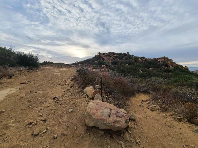 The fork taking you off of Rocky Peak Fire Road down the fun Chumash Trail singletrack descent. Keep your ears open for mountain bikers as some advanced riders do descend on this trail.