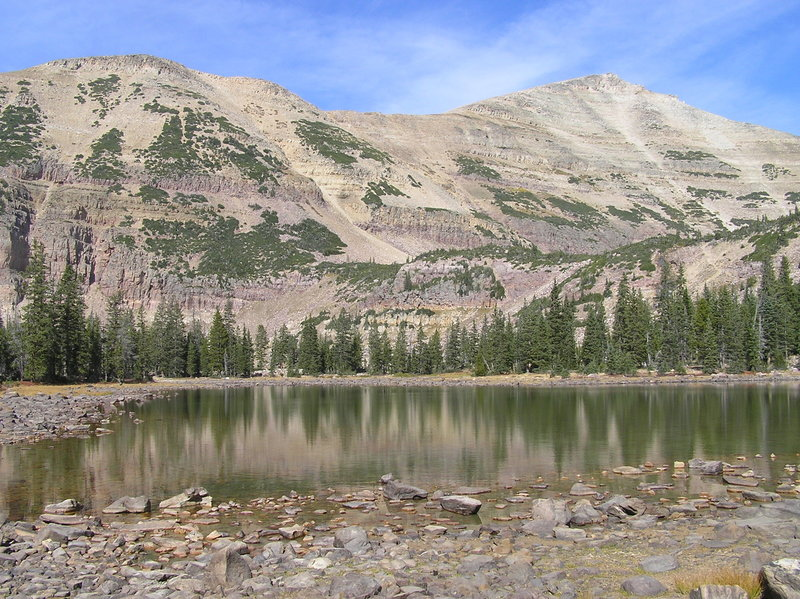 View from Morat Lake (eastern one) toward bench containing Blue Lake and, in background, Mt. Agassiz (09-19-2012)