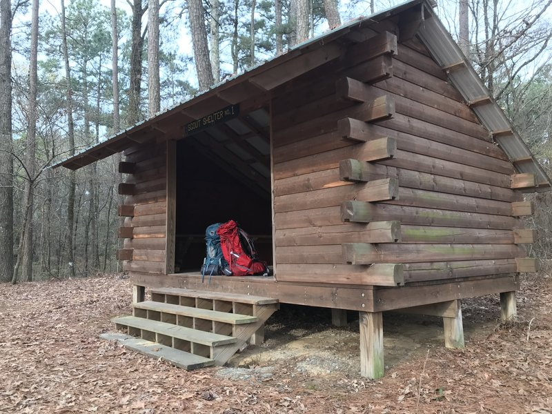 First of 2 shelters about a half mile off mile 6 of the Cane Creek Trail. Shelter no. 2 looks identical and is off to the right when walking down the side trail. Signs guide you to both shelters, #1 is on left at about (33.94213, -91.79592).