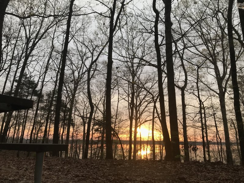 View of the sunrise and lake from camping shelter number 1 off mile 6 of the Cane Creek Trail. Actual location at about (33.94213, -91.79592).