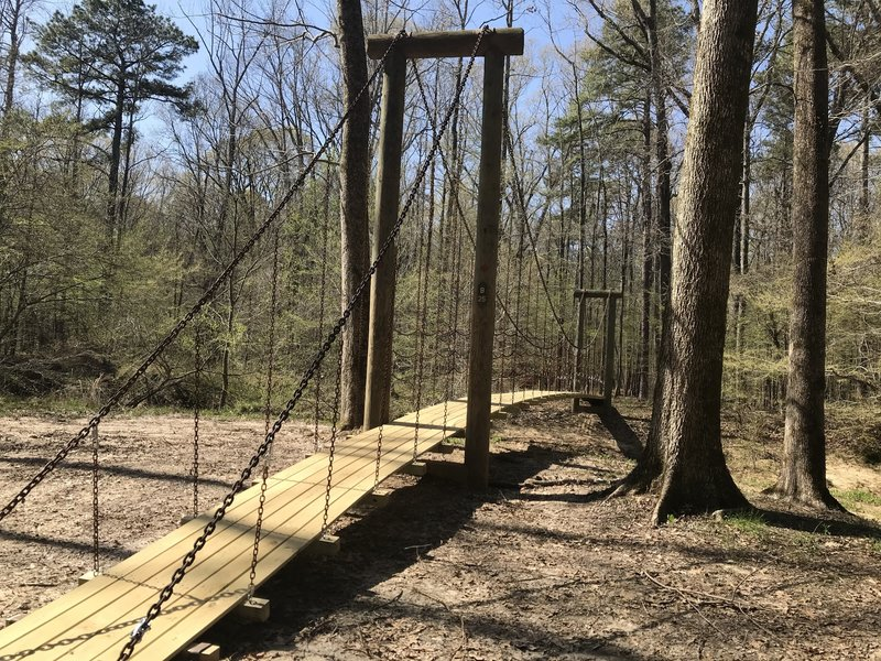 The first of 3 suspension bridges on Cane Creek Trail. This one crosses Lick Creek at about mile 14.25.
